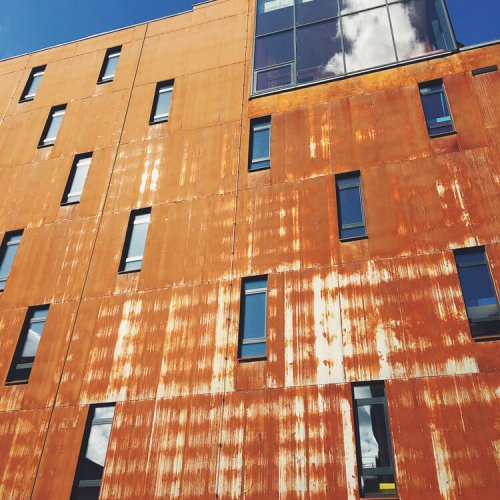 The,Modern,Building,Is,Covered,With,Rusty,Steel